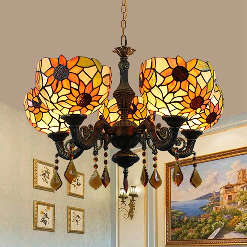 pastoral tiffany stained glass sunflower bar 5 head crystal droplight sitting room dining-room restoring ancient wayspastoral tiffany stained glass sunflower bar 5 head crystal droplight sitting room dining-room restoring ancient ways