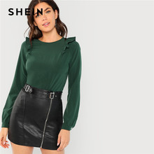 bc57fe324e SHEIN Green Office Lady Elegant Ruffle Trim Round Neck Long Sleeve Solid Blouse  Autumn Casual Minimalist Women Tops And Blouses