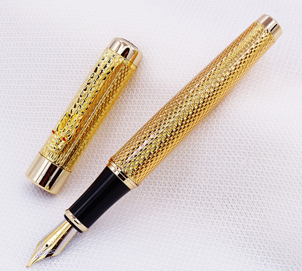 Jinhao 1200 Vintage Luxurious Golden Metal Fountain Pen Rolllerball Pen In Noble Gift Box Dragon Clip Ink Pens Collection in Fountain Pens from Office School Supplies