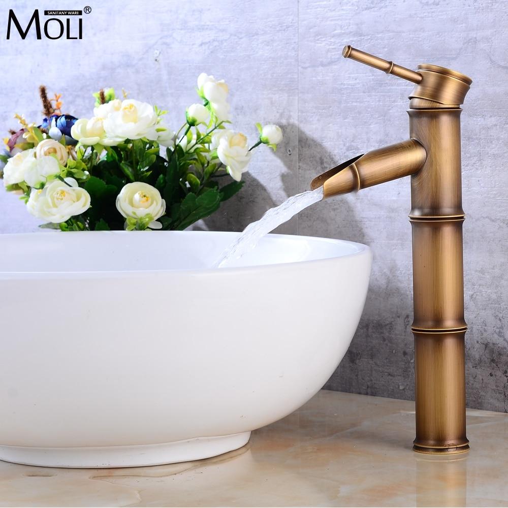 Banheiro de bambu torneira da pia bronze antigo terminado misturador água quente e fria guindaste pia do banheiro alto