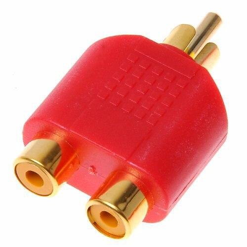 Conectar dos subwoofer al AV Chapado-en-oro-RCA-Macho-a-2-Dual-RCA-Hembra-Adaptador-de-Audio-Plug-AV-Divisor