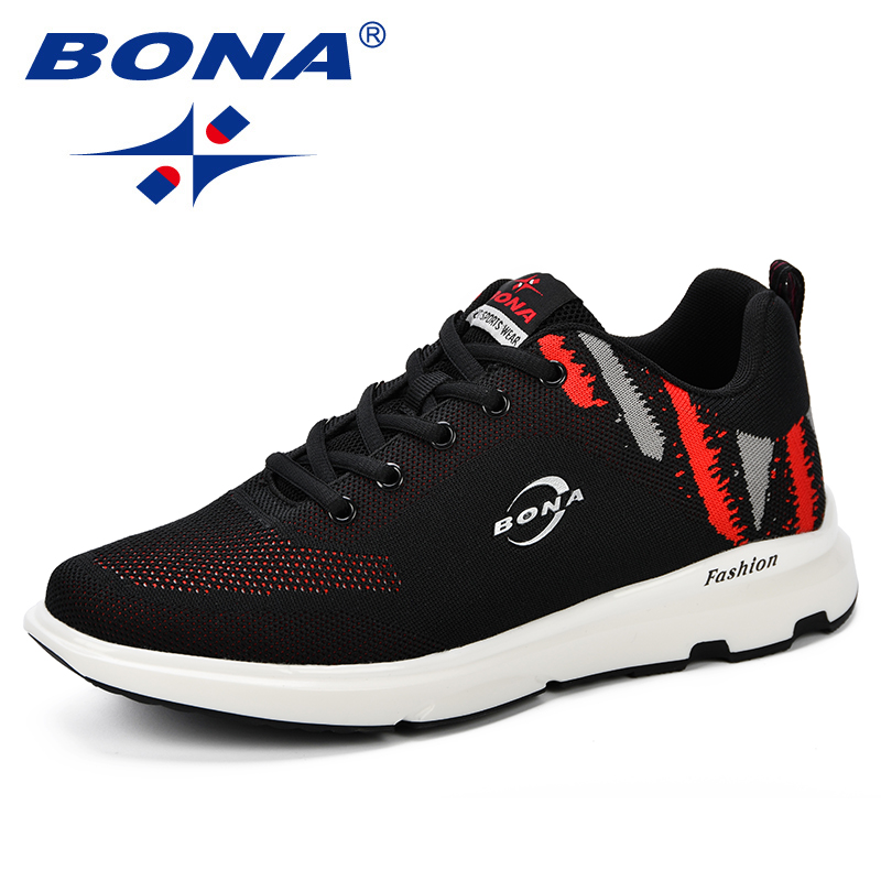 BONA Men Casual Shoes Spring & Autumn Fly Weaving Shoes Comfortable High Quality Breathable Footwear Man Outdoor Sneakers Shoes