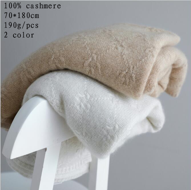 Naizaiga 100% Cashmere Knitted Floating Flowers White Scarf Camel Men Winter Pashmina Girl Wrap ,MWYR