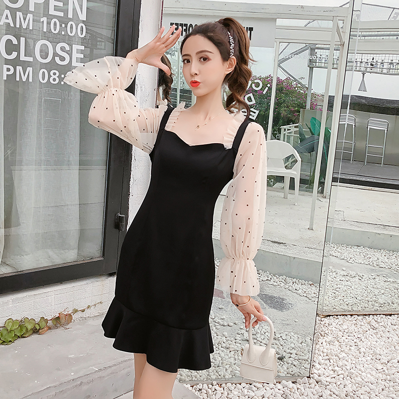2019 New Spring French Romantic Black Mini Dress Dot Transparent Long Sleeve Mermaid Dress Women Fishtail Sexy Party Vestidos 1