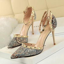 high heels shoes woman sandals gladiator wedge booties best sellers metal String rivet Buckle Ankle Strap wedges for women