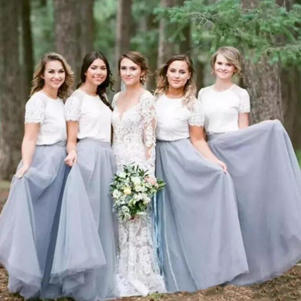 Wonderful Lace Tulle   Bridesmaid     Dresses   2019 High Quality A Line Short Sleeve Floor Length Long Wedding Party Gowns Custom Made