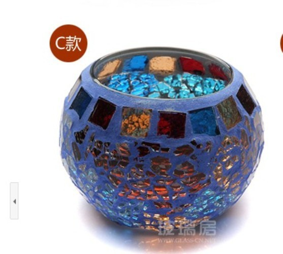 Blue Mosaic Glass Tealight Candle Holder Spa Bar Home Candle Lantern Mousse C Style