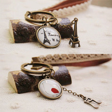 RE forest series eiffel tower/bird/animal key rings vintage keychains leather lace charm bag car accessories women jewelry J40