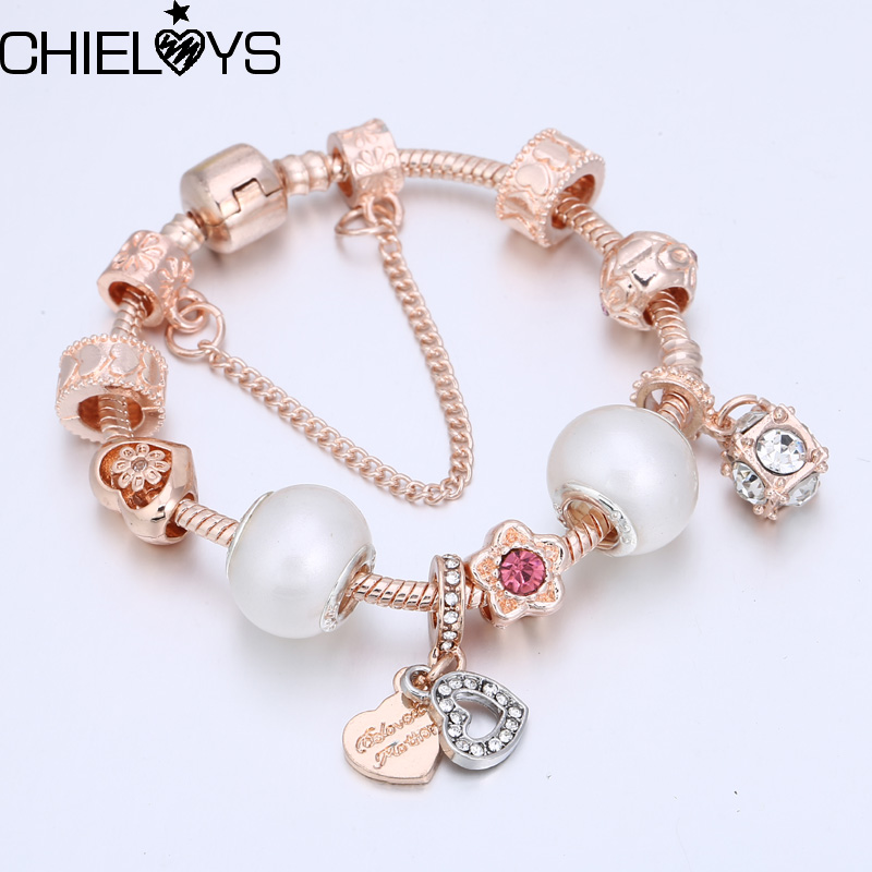 CHIELOYS Luxury Rose Gold Chain Pandora Bracelets For Women Crystal DIY Charm Bracelets Bangles Famous Pandora Jewelry Gifts