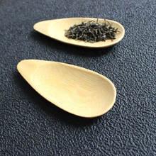 Cute Melon seed shape Drop-shaped Handmade Mini Bamboo Tea Scoops Kung Fu Tea Spoon Black Green Tea Shovel Gift For Friends 1PC