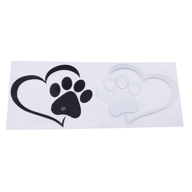 Cute Dog Paw Love Heart Car Sticker Animal Cartoon Dog Cat Pet Love Heart Personality Decoration Car Stickers
