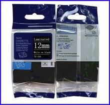 Tze335 tze-335 tz tze 335 tz335 tz-335 для brother принтер этикеток Кассеты 12 мм p-touch Этикетка Ленты Белое на Black Label Лента