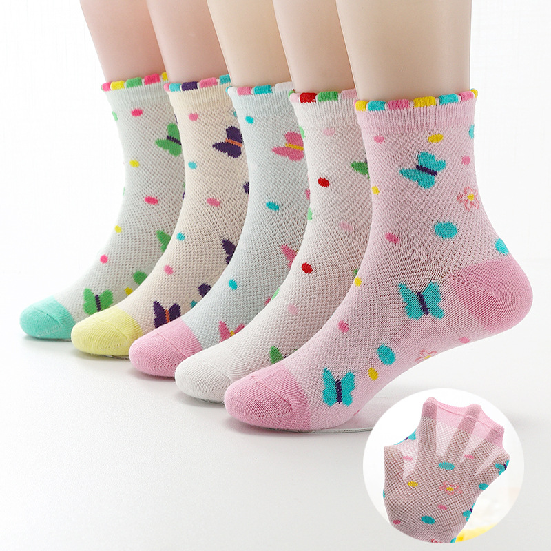 2019 New Spring Summer 5 Pairs Girls Socks Mesh Cotton Bow Beautiful Wavy Mesh Breathable Socks Kids Socks For Girls 3-12 Year