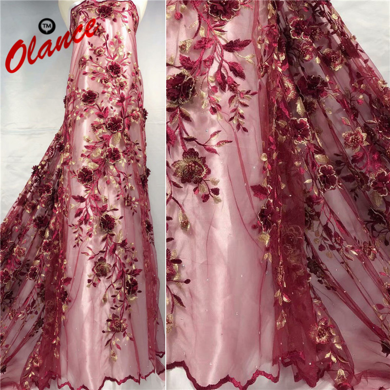 Free Shipping So Long Vines Appliqued Flowers with Beads guipure lace ZF41 new coming Hot Sale Cheap African Tulle lace fabric