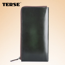 TERSE_2016 Hot sell soft genuine leather business wallet large capacity handmade leather long wallet luxury solid bag for men