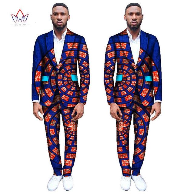 (Casacos + Calças) Dashiki para Ternos Dos Homens Ajuste Personalizado Moda Ternos de Casamento para Os Homens de Negócios Em Linha Reta Blazers Plus Size 6XL WYN263