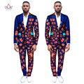 (Chaquetas + Pantalones) Dashiki para Trajes de Hombre Custom Fit Moda Rectos de Negocio Trajes de Boda para Hombres Blazers Plus Size 6XL WYN263