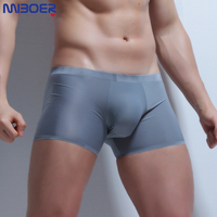 Ice Silk Boxer Sexy Men Transparent Men Underwear Low Waist Slip Homme 3XL Cuecas Boxers See