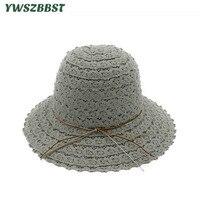 Novas Mulheres de Verão Chapéus de Sol de Alta Qualidade Oco Rendas Tecelagem Chapéu de Pescador balde Chapéu para As Mulheres Dobrado Feminino Lady Protetor Solar Cap