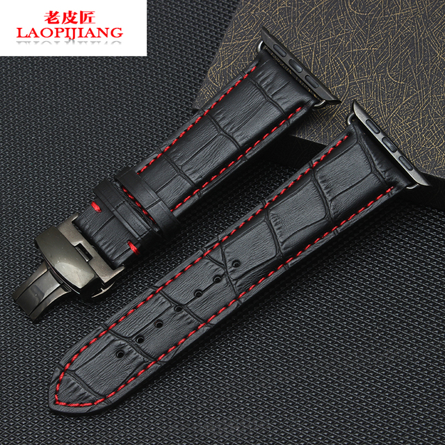 laopijiang calfskin leather strap bracelet apple watch bamboo