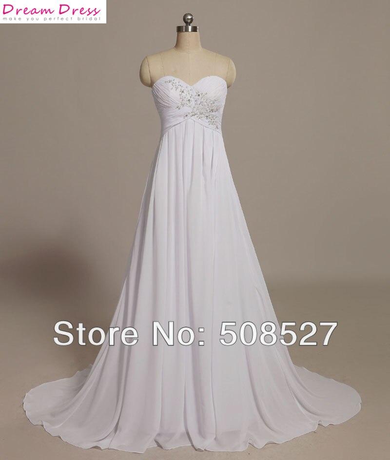Free Shipping White/Ivory Chiffon Pleat Lace Applique Beading Diamond Wedding Dress In Stock US Size 2-4-6-8-10-12-14-16-18-20