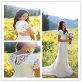 2015 BOho Wedding Dresses Short Sleeve Scoop Backless Sweep Train Vestido De Noiva Bridal Gown Romantic Lace Wedding Dress