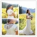 2015 BOho Wedding Dresses Short Sleeve Scoop Backless Sweep Train Vestido De Noiva Bridal Gown Romantic Lace Wedding Dress