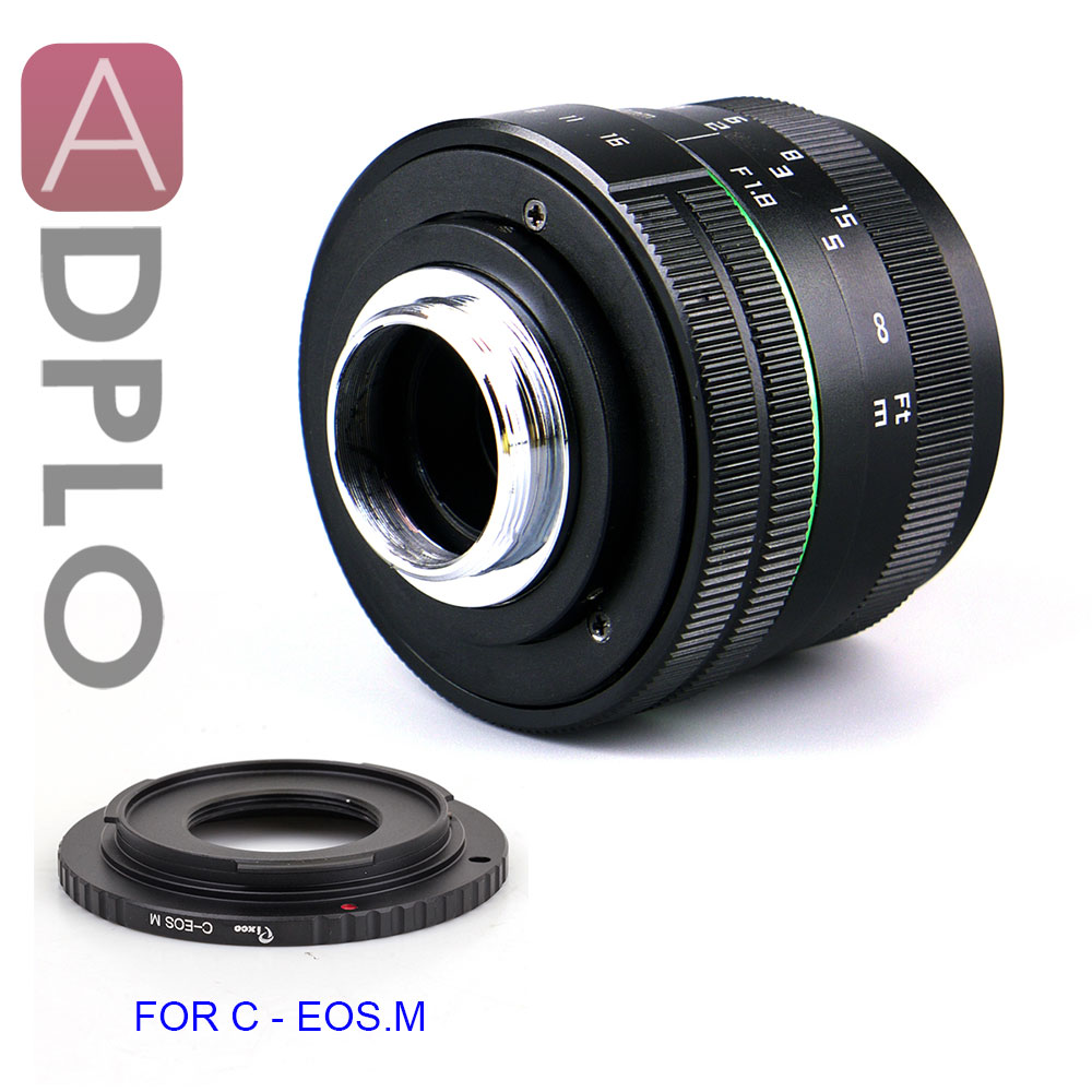 ADPLO CAMERA Lens 50mm F1.8 APS-C Television TV Lens+C Mount adapter for Nikon 1 M4/3 for Pentax Q Nex FX for Canon eos M camera aps c cl mil7528n 7 5mm f2 8 fish eye wide angle lens suit for fujifilm fx nex micro 4 3 eos m with lens wrist strap