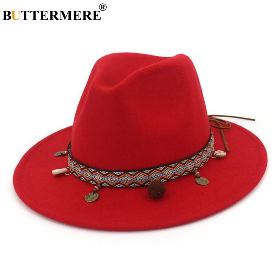 BUTTERMERE Red Fedoras Hats For Women Ethnic Style Wool Felt Hat Female Wide  Brim Casual Ladies b2fb231196b8