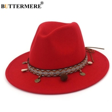 BUTTERMERE Red Fedoras Hats For Women Ethnic Style Wool Felt Hat Female Wide Brim Casual Ladies Autumn Holiday Jazz Caps Fashion