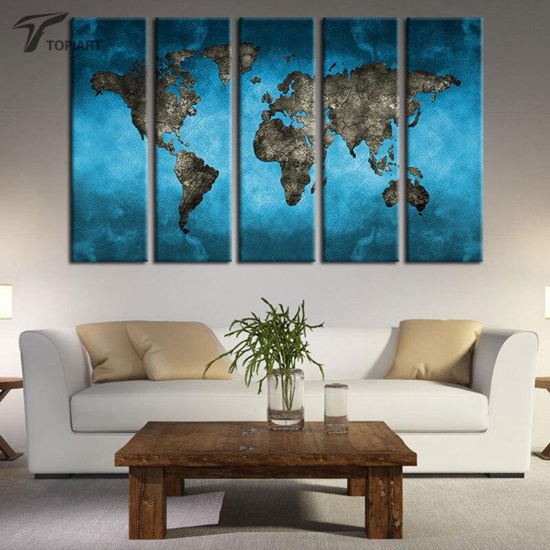 Aliexpress.com : Buy World Map Canvas Art Prints 5 Panel Large ...