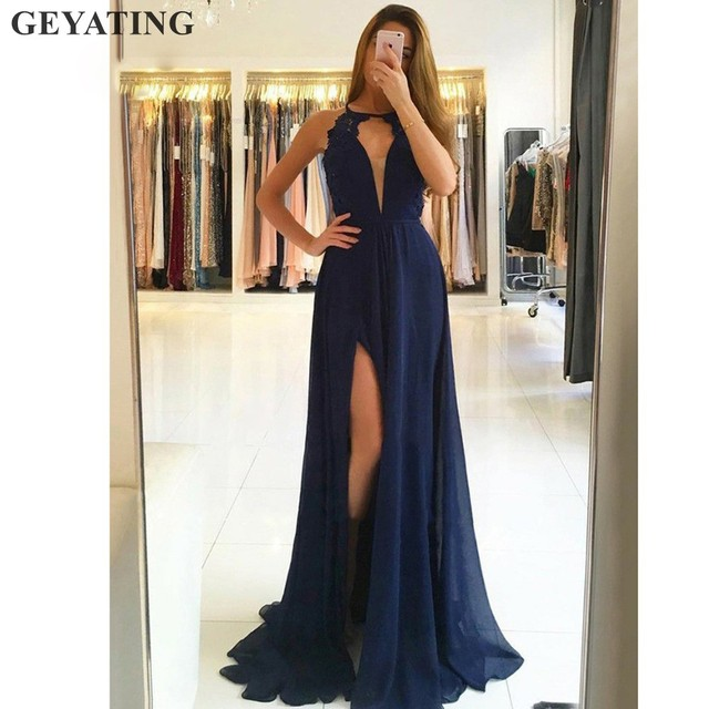 8145fc0cec Sexy Navy Blue Backless Long Prom Dresses 2019 Halter Keyhole Side Split  White Chiffon Evening Gowns Cheap Formal Party Dress