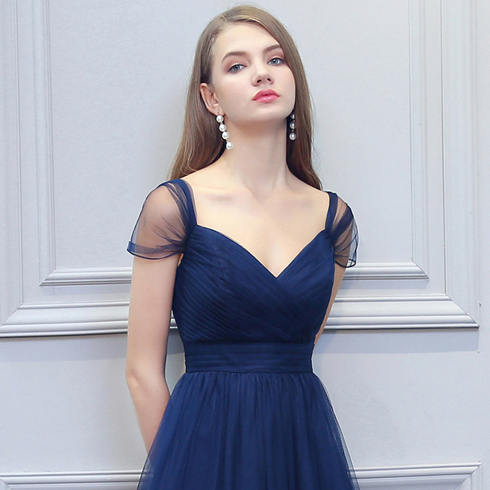BeryLove Long Navy Blue Tulle Evening Dresses Simple Off Shoulder ... 6177e1eccb00