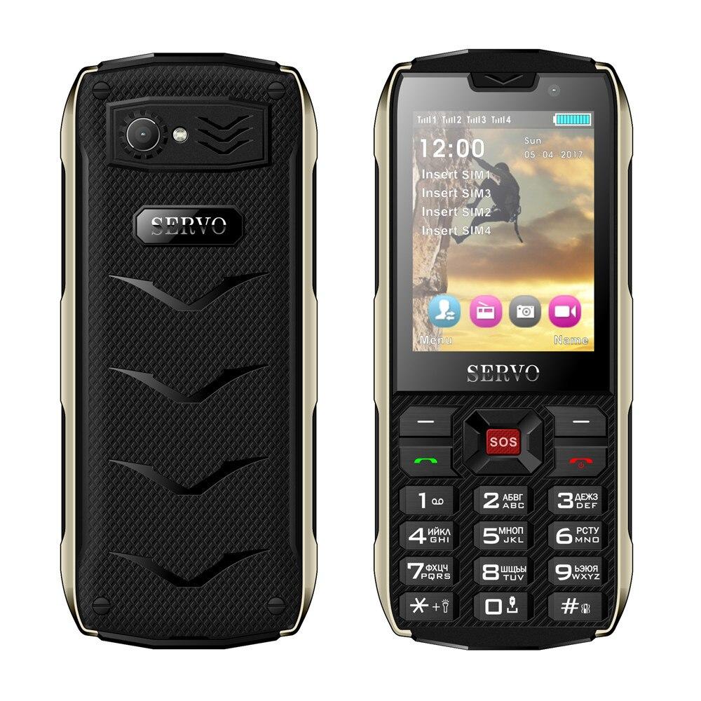 Фото. SERVO H8 мобильный телефон 2,8 дюймов 4 SIM телефон Bluetooth фонарик GPRS 3000 мАч банк питания тел