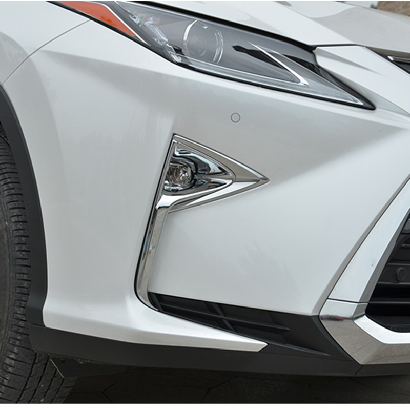 For LEXUS RX 2016 2017 ABS Chrome Auto Exterior Front Fog Light Lamp Cover Foglight Trims Frames Molding Car Accessories 2Pcs