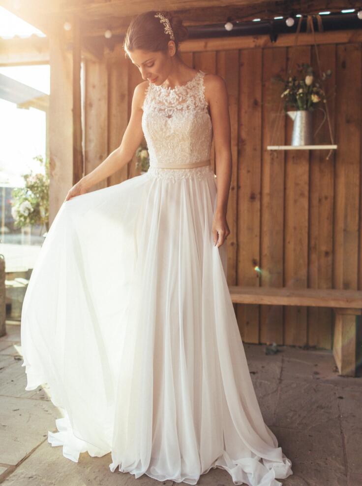 Summer Beaded Lace Appliques Chiffon Beach Wedding Dresses ...