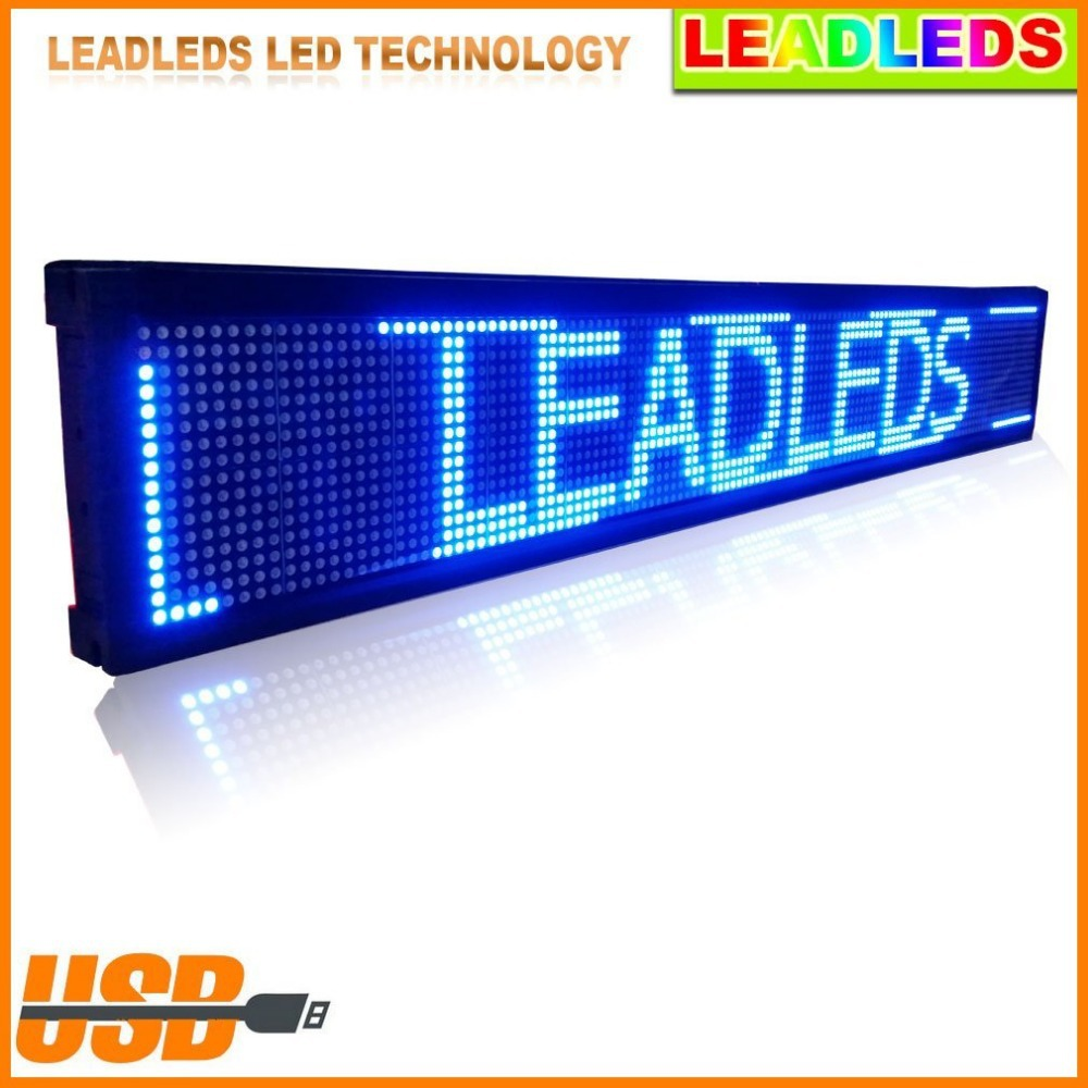 30 * 6.3 Inches P7.62 Blue LED Sign Board Programmable Display Scrolling Message Advertising Business