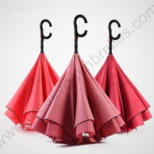 2pcs/lot 115cm auto open C-Hook Reverse hands-free magic water flowers umbrella enlarge double Layer Inverted standing parasol