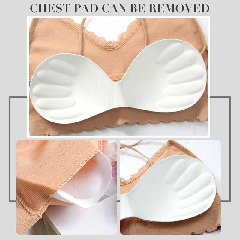 Perfering Ống Ngực V Không Tay Cổ Xe Tăng Cao Cấp Nữ Yếm Chắc Chắn Nữ BH Đồ Lót Bralette Chéo Làm Đẹp Lưng Gợi Cảm áo Lót Ngực