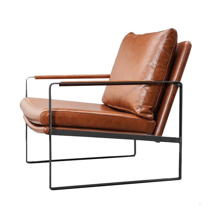 Modern Design Armchair / Sweden Design Sofa Chair with Armrest / Goose Leather Filled Backrest Cushion free shipping single chair modern design classic simple design genuine leather chair with stainless steel sofa legs chair