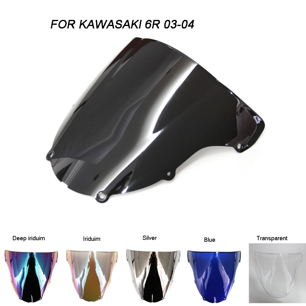 Motorcycle Motorbike Windshield Double Bubble Windscreen Wind Deflectors For Kawasaki ZX6R ZX-6R 636 2003-2004 2003 2004 cnc adjustable foot pegs pedals rests for kawasaki zx6r zx 6r 2003 2004 2003 2004 motorcycle