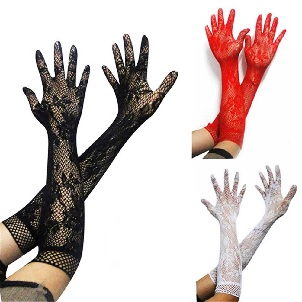 2020 Sexy Lace Gloves Hot Sale Wholesale Women's Summer Sunscreen Thin Long UV Blocking Gloves Black Lace Gloves 3 Colors