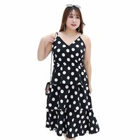 summer 2019 women summer dress plus size dress beach dress Slim strap200 pounds fat sister chiffon dress frocks for women