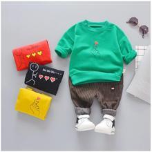hot deal buy 2019 spring baby boys girls clothing suit  infant children clothes set cartoon t-shirt+ pants sport suit kids boys clothing