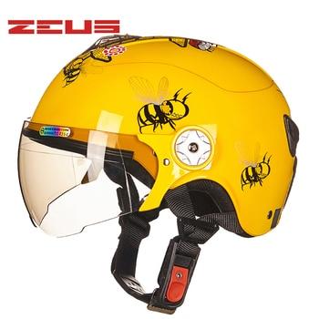 ZEUS Cartoon Motorcycle Children Half helmet face Kids cute capacete casco Safety dot ece sticker kids helmet