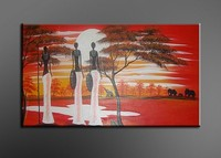Handmade Black White Red Modern Decorative African Women Picture Oil Painting On Canvas Wall Art Living
