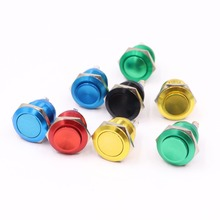 19mm Metal Oxidized Push Button Switch flat round 1NO reset press button screw terminal momentary red black blue Gold Green