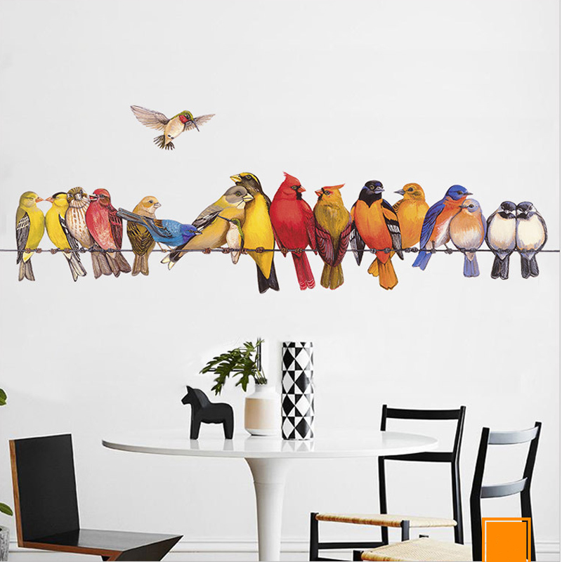 Many birds are on the rope Wall Sticker Home Decoration DIY Living kids Room Sofa Background Mural art Decals poster stickers