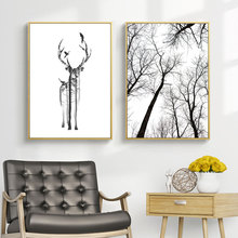 Black And White Tree Posters Prints Abstract Wall Art Canvas Painting Nordic Poster Forest Picture Deer Unframed
