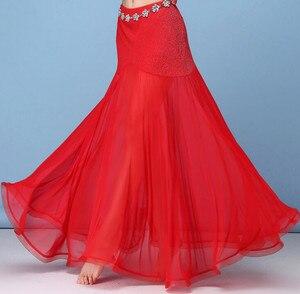 Image 3 - קוריאה כסף רשת בטן ריקוד חצאית נשים ריקודי בטן תלבושות תלבושת שבטי מקסי מלא חצאיות מוצק צבע חצאית שחור XL